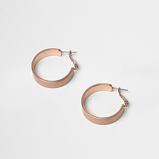 Rose gold tone medium hoop earrings