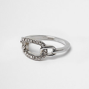 Silver tone curb chain embellished ring