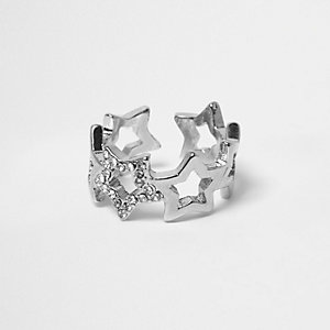 Silver tone embellished star ring