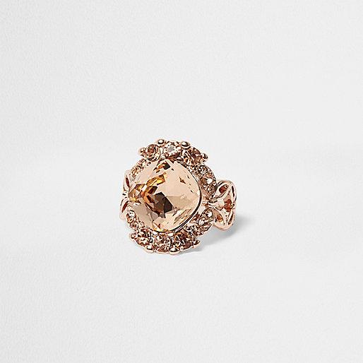 Rose gold tone large gem ring