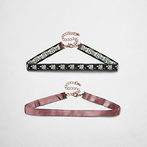 Pink and black choker necklace pack