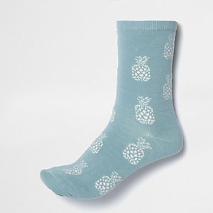 Light blue pineapple print socks