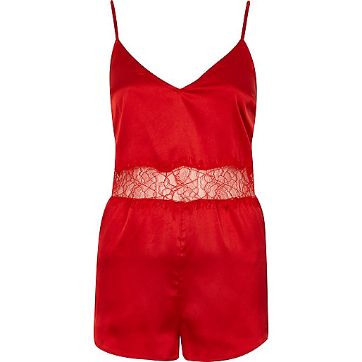 Red silky lace romper