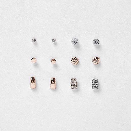 mixed tone stud earring pack earrings jewelry