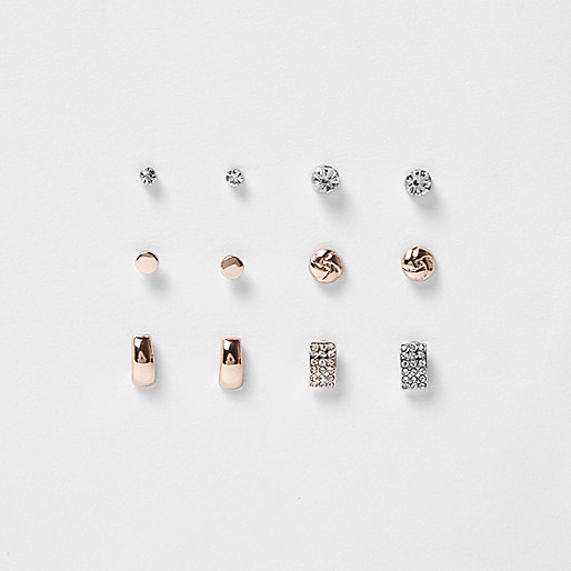 Mixed tone stud earring pack