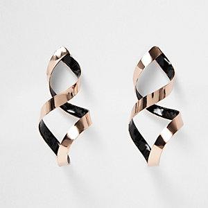 Rose gold tone spiral drop earrings