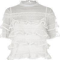 White dobby mesh frill layer turtleneck top