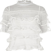 White dobby mesh frill layer turtleneck top
