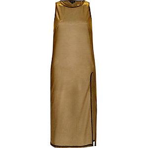 Metallic bronze sheer tunic top