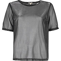 T-shirt en tulle argenté métallisé
