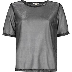 Silver metallic mesh T-shirt