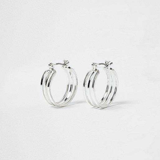 Silver tone three row mini hoop earrings