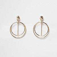 Gold tone double hoop chain earrings