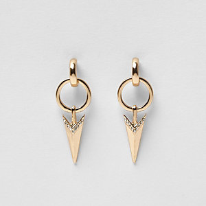 Gold tone arrow drop earrings