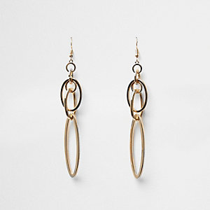 Gold tone interlocking drop earrings