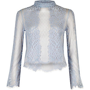 Powder blue lace flute sleeve top