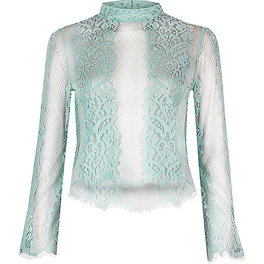 Light green lace flute top