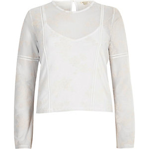 White flocked floral mesh grazer top