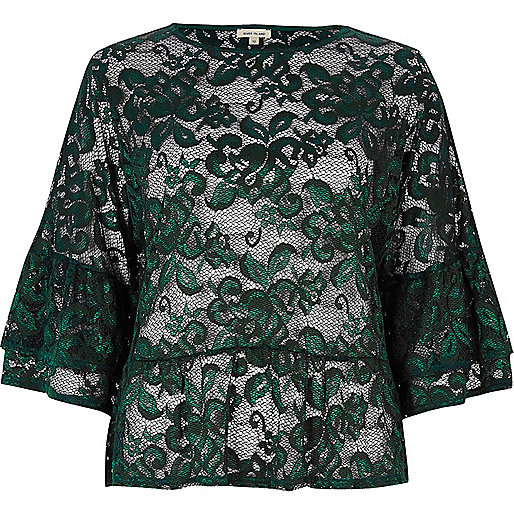 Dark green lace trumpet sleeve top
