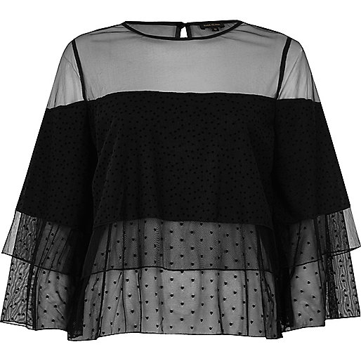 Black mesh layered frill top