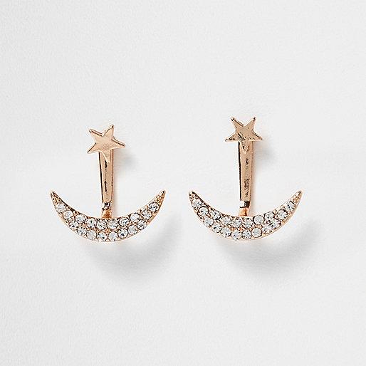 Boucles d'oreilles dorées avec étoile et lune devant et sur l'arrière