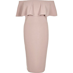 Light pink deep frill bardot bodycon dress