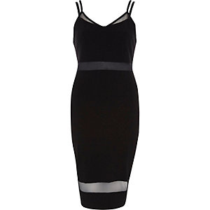 Black strappy mesh panel bodycon dress