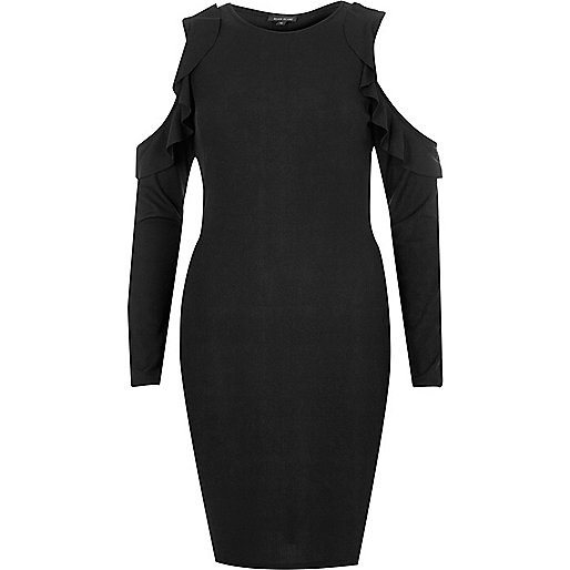Schwarzes Bodycon-Kleid mit Schulterausschnitten und Rüschen