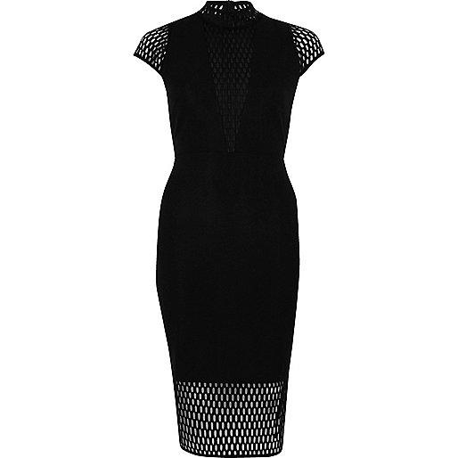 Schwarzes Kleid mit Stehkragen und Netzstoffeinsatz