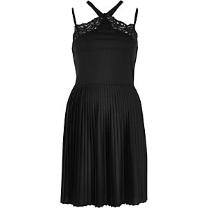 Black pleated cross back lace dress