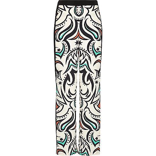 Cream print palazzo trousers