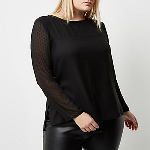 Plus black dobby mesh sleeve top