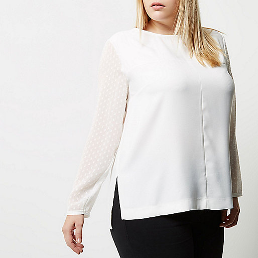 Plus white mesh sleeve top