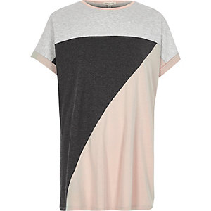 Pink color block boyfriend T-shirt