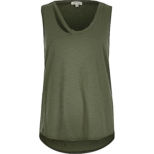 Khaki green tank top with cut-out detail