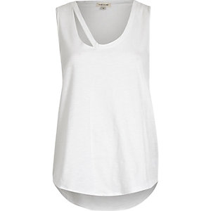 White tank top with cut-out detail