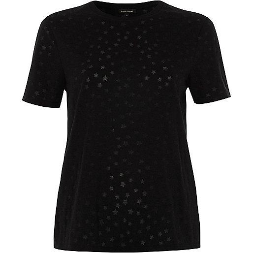 T-shirt burnout noir imprimé étoile