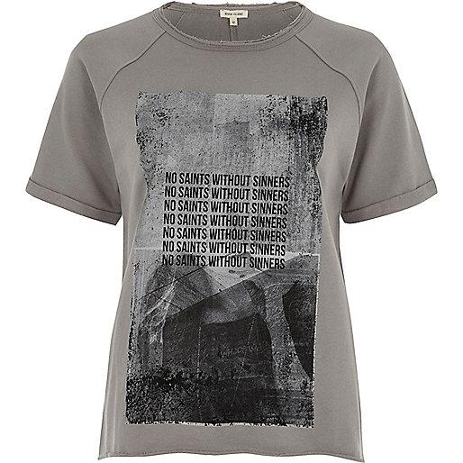 T-shirt imprimé en jersey gris