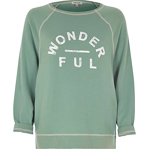 Green wonderful print sweatshirt