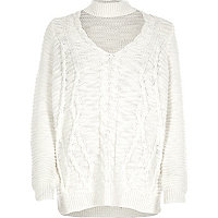 Cream choker knit cable knit jumper
