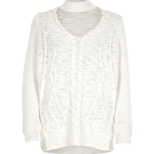 Cream choker knit cable knit sweater