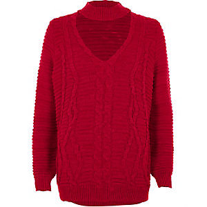 Red choker neck cable knit jumper