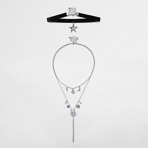 Lot de colliers avec ras-de-cou noir pendentif étoile
