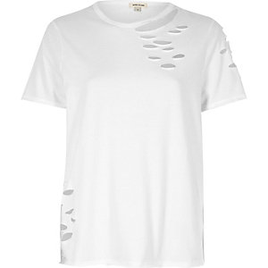 White distressed easy fitted tee