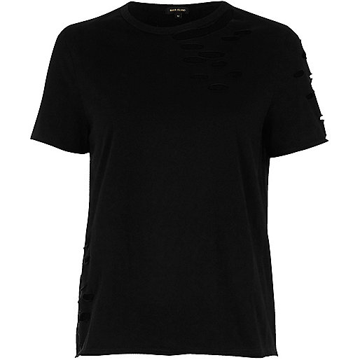Black distressed easy fitted tee