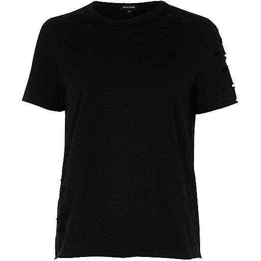 T-shirt ample noir aspect usé