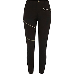 Black ponte skinny zip trousers