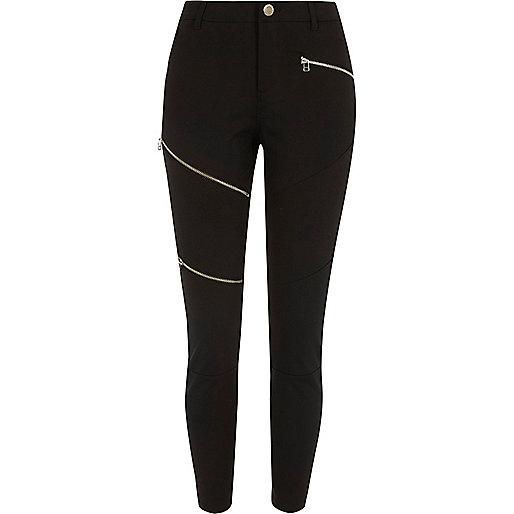 Black ponte skinny zip trousers