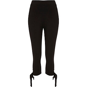 Black ponte bow leggings