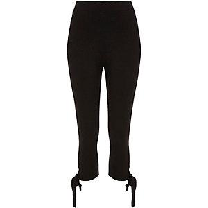 Zwarte legging met strikken van ponte-stof
